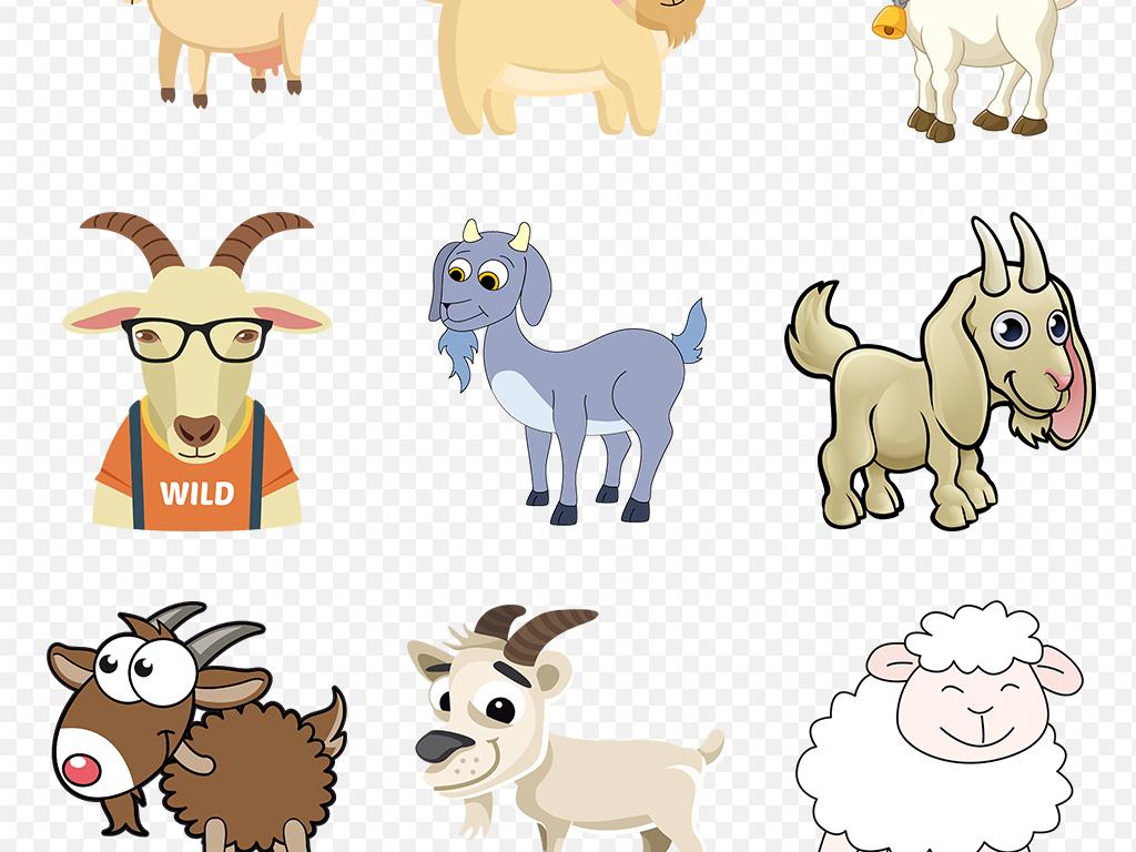 卡通手绘可爱小羊绵羊山羊海报素材背景图片png