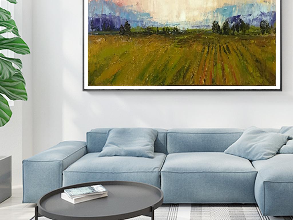 现代简约手绘清新自然风景油画家居装饰画
