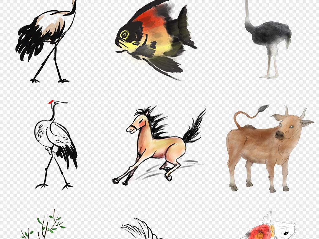50款中国风水墨山水花鸟动物植物花卉png素材