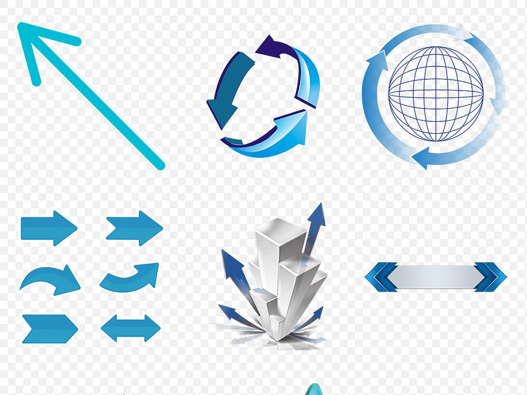 卡通手绘蓝色商务立体箭头科技上升海报素材背景图片png