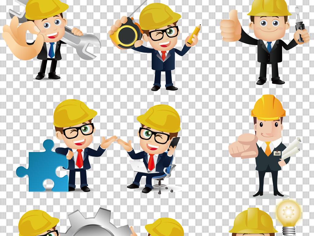 手绘建筑工人安全生产月海报png免扣素材