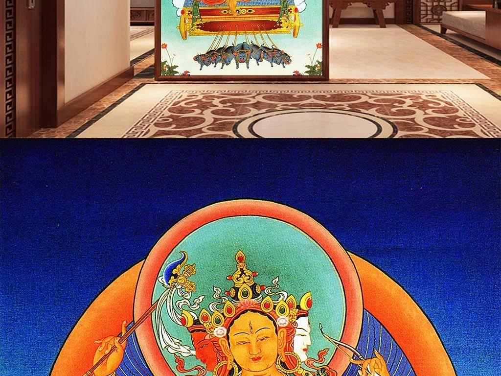 新唐卡高清大图之三头六臂图片设计素材 psd模板下载 179.39mb 其他壁画大全