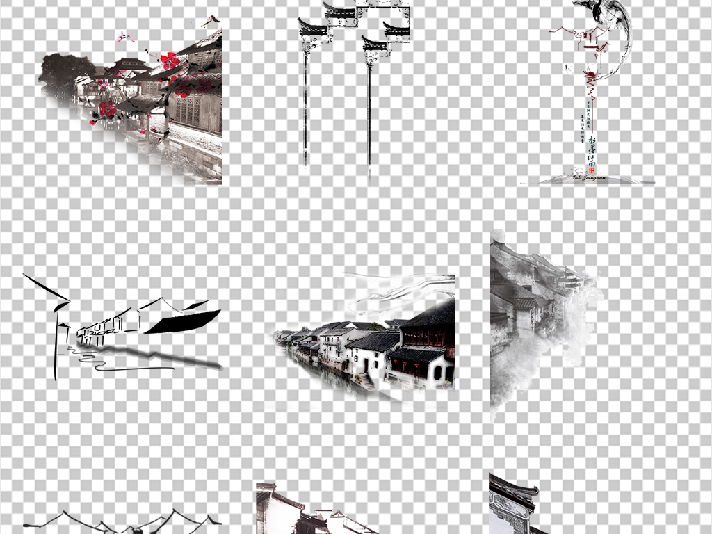 黑白古风                                          手绘建筑