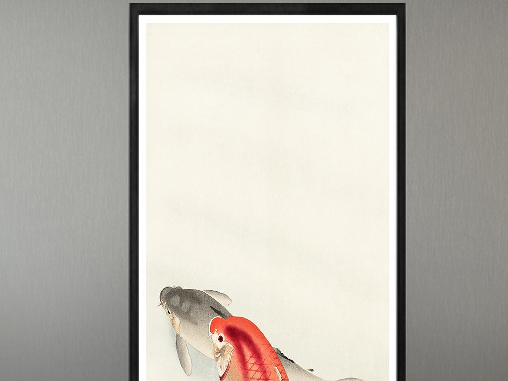 现代简约古风手绘民俗锦鲤中式装饰画