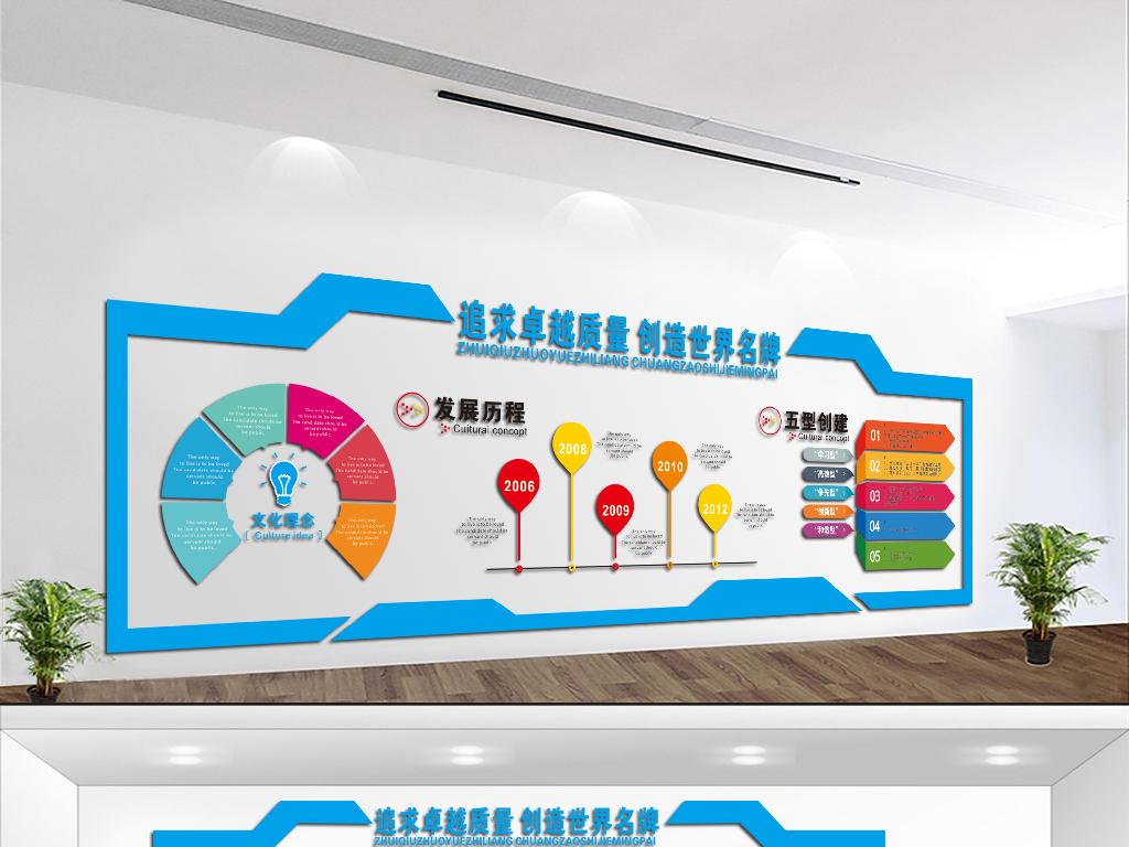 cdr微立体uv企业文化墙科技公司活动室布置形象墙设计