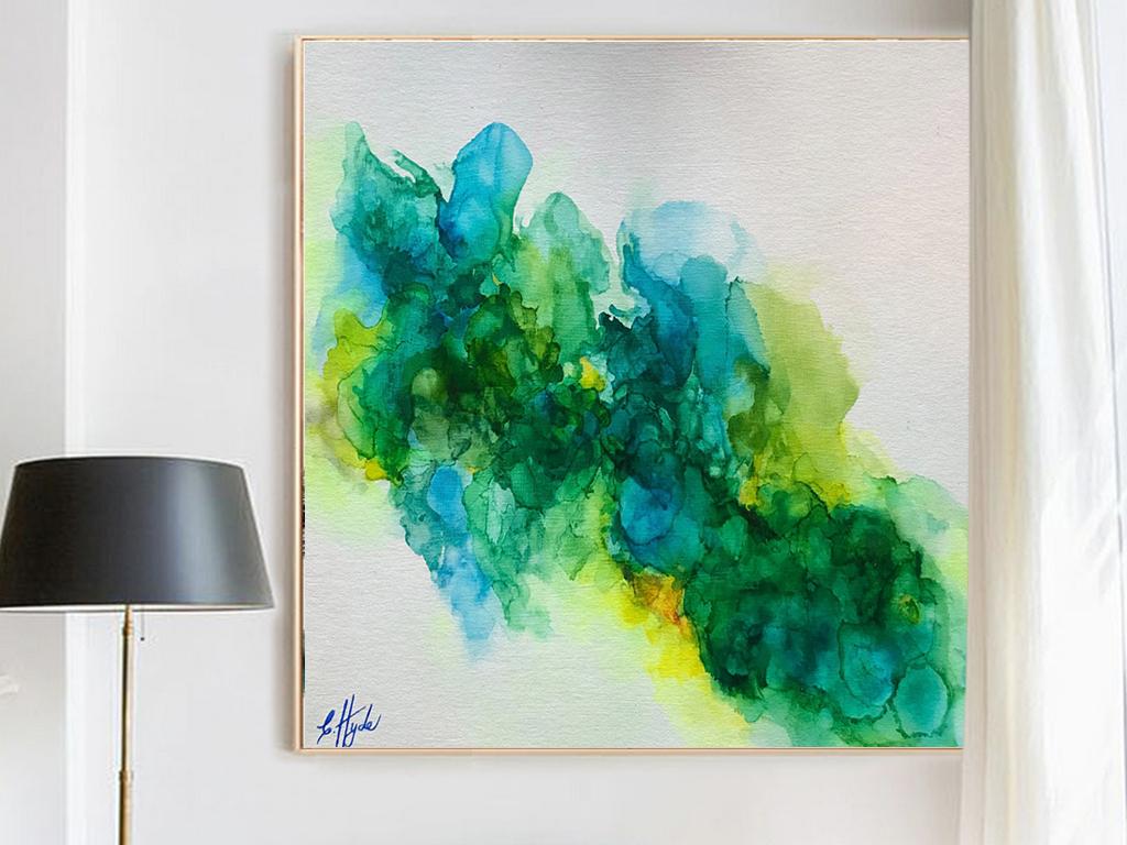 北欧简约唯美风景水彩抽象绿色现代艺术装饰画