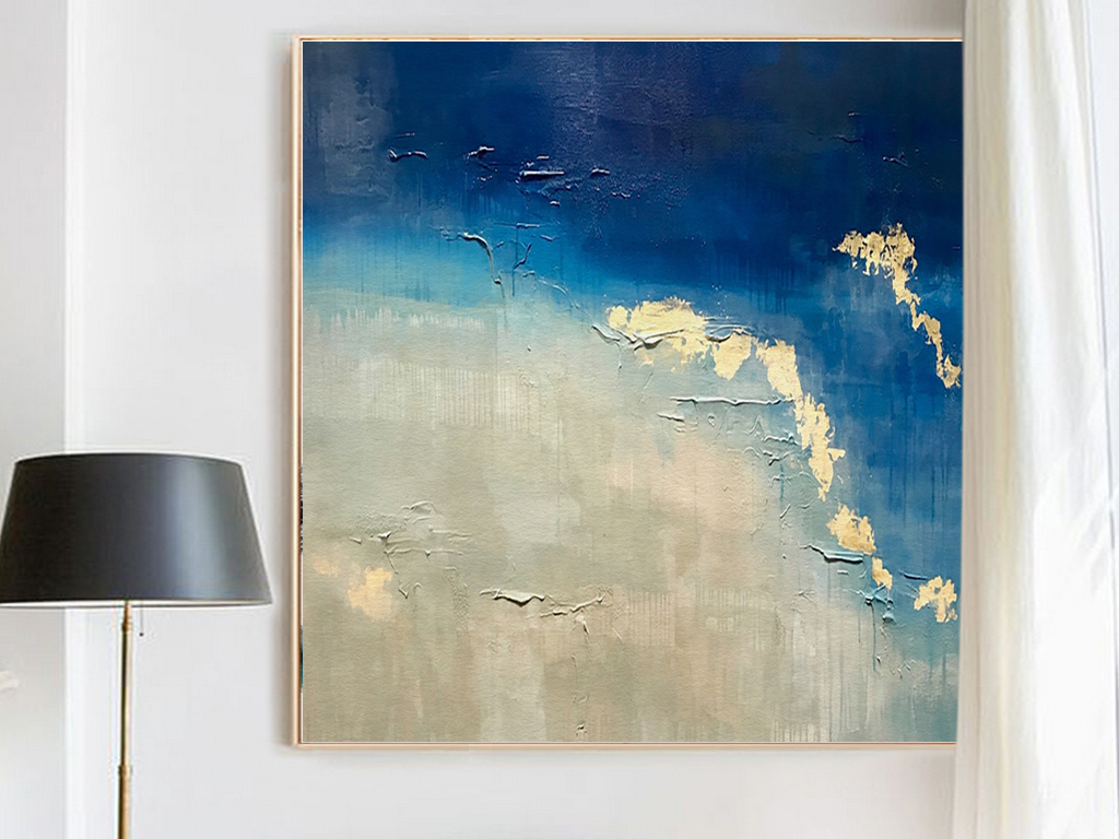 北欧简约唯美风景蓝色大海沙滩现代艺术装饰画