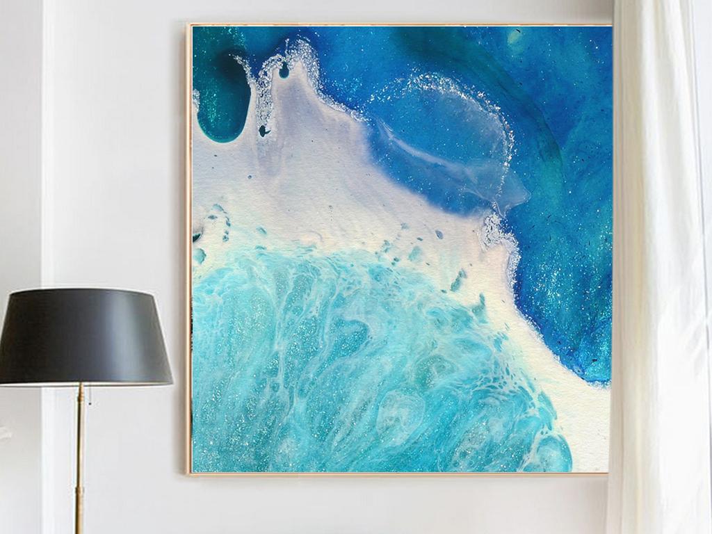 北欧简约唯美风景蓝色大海白色浪花现代艺术装饰画