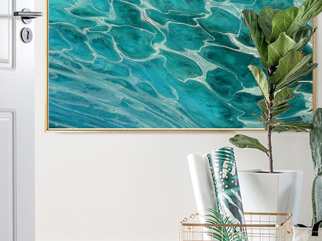 北欧简约唯美风景蓝色海水波纹现代艺术装饰画
