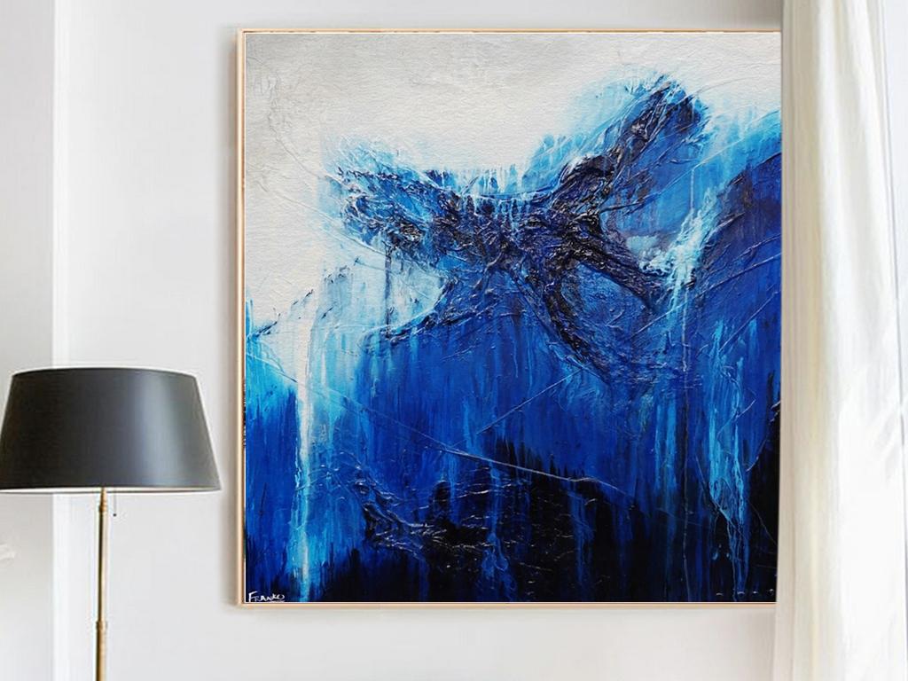 北欧简约唯美风景抽象风景蓝色梦幻现代艺术装饰画