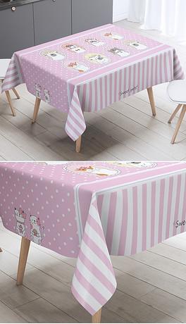 绘卡通猫咪条纹格子桌布台布茶几布-EPS手布 EPS格式手布素材图