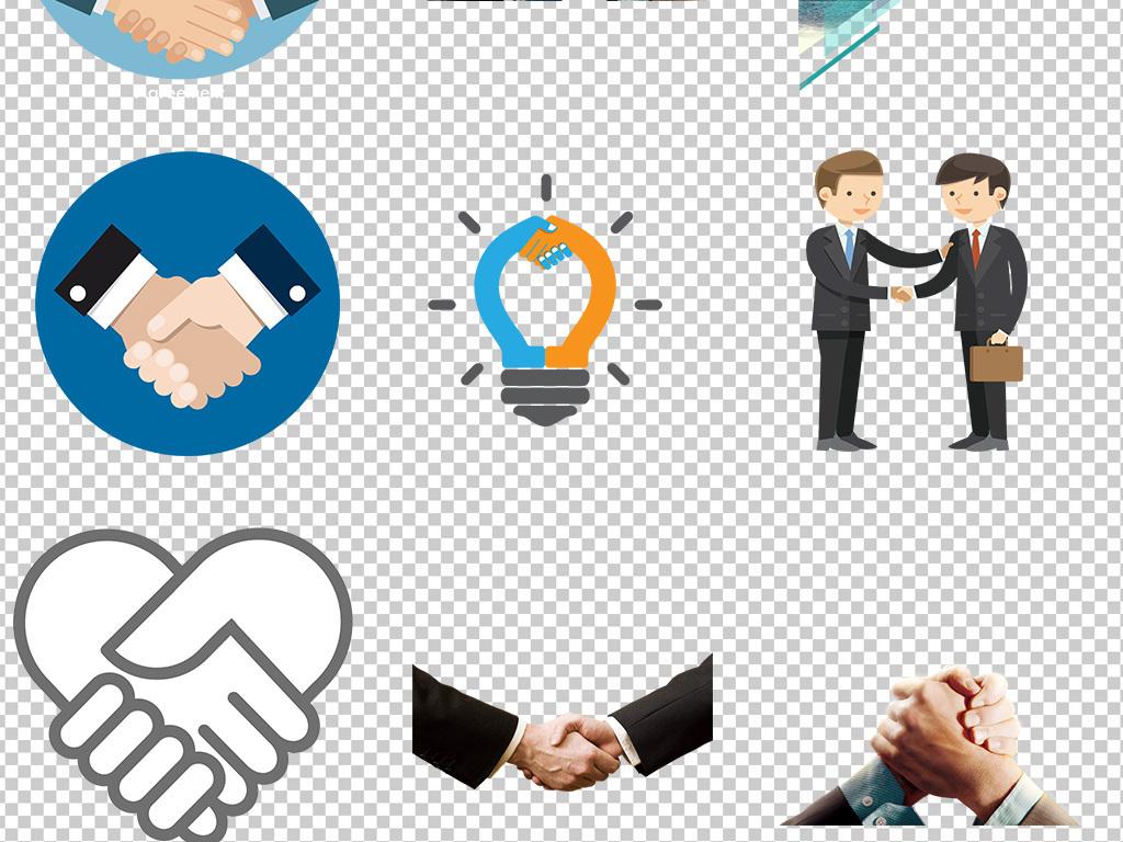 卡通手绘握手商务办公合作海报素材背景图片png