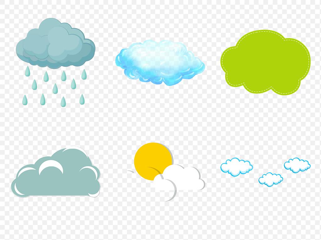 免抠元素 自然素材 气象 > 可爱卡通手绘云朵花纹线描海报素材背景