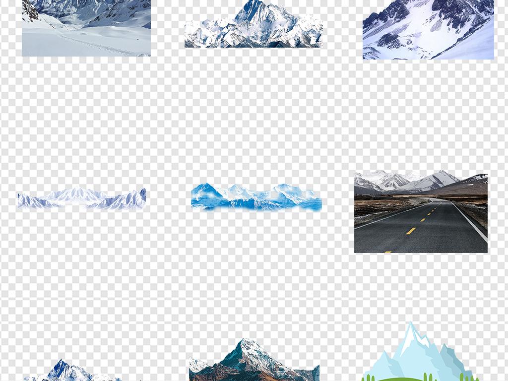 雪山雪景冬季卡通手绘山脉山峰冰山免扣背景