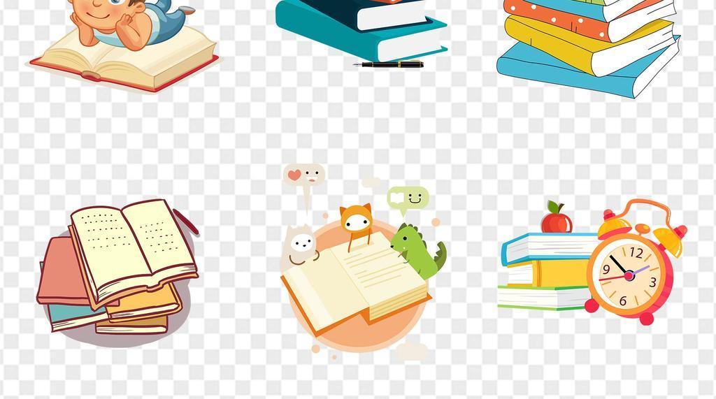 卡通创意翻开的书本儿童读书阅读看书海报展板ppt素材图片