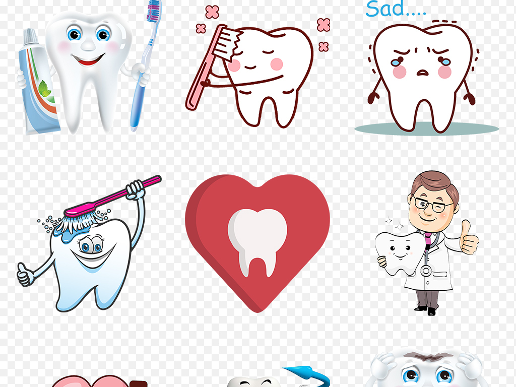 卡通手绘牙齿保护牙科刷牙知识海报素材背景图片png