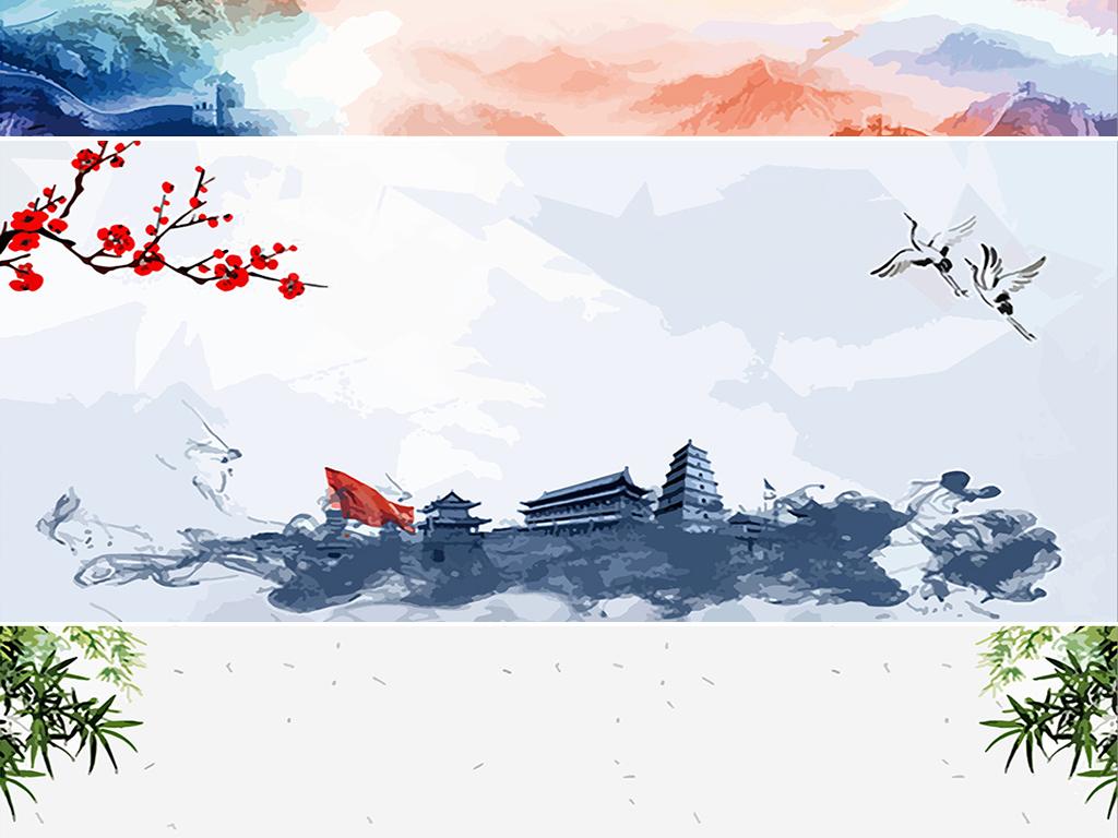 手绘中国风水墨山水古风古典荷花海报背景