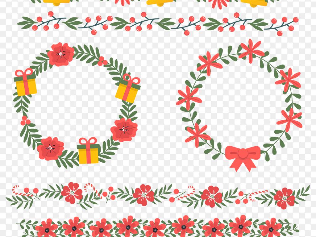 矢量ai圣诞花边边框免抠素材图片 ai模板下载 4.47MB 卡通手绘边框大全 花纹边框图片