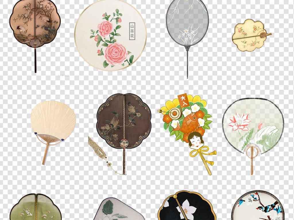 扇子圆形扇子折扇古典折扇中国风古典扇子古风团扇水墨水彩古风手绘