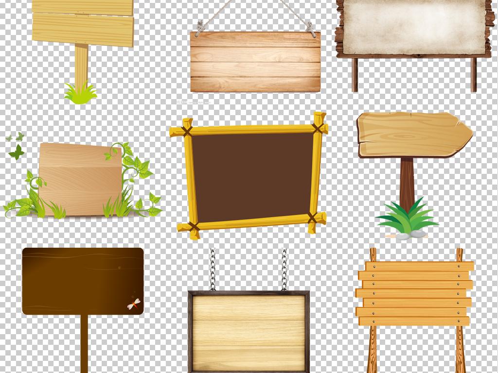 卡通手绘木板材质纹理标题栏指示牌png素材