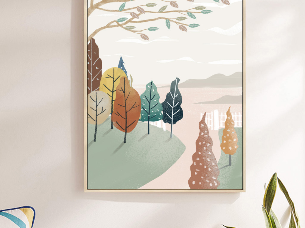 手绘抽象风景山水小清新插画北欧装饰画