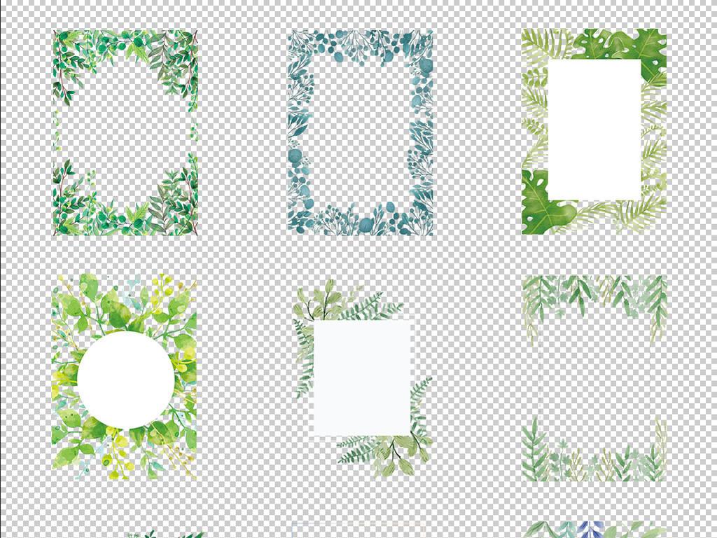森系素材婚礼卡片春季海报淘宝卡片png背景小清新边框花朵北欧清新