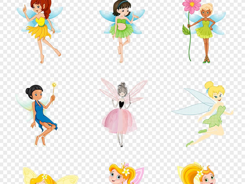 卡通手绘小仙女花仙子带翅膀的女孩童画天使公主图片素材 模板下载 99.11MB 美女大全 人物形象