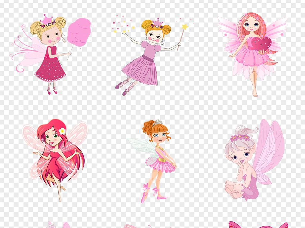 卡通手绘小仙女花仙子带翅膀的女孩童画天使公主