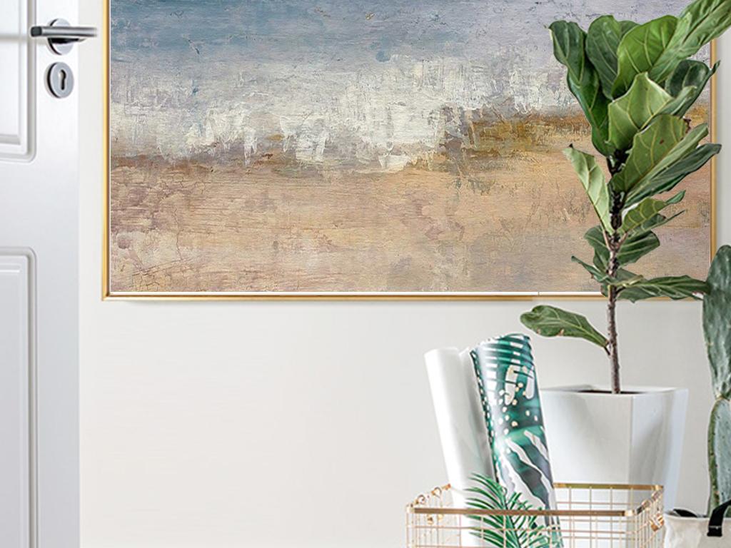 北欧简约唯美风景蓝天大海油画现代艺术装饰画
