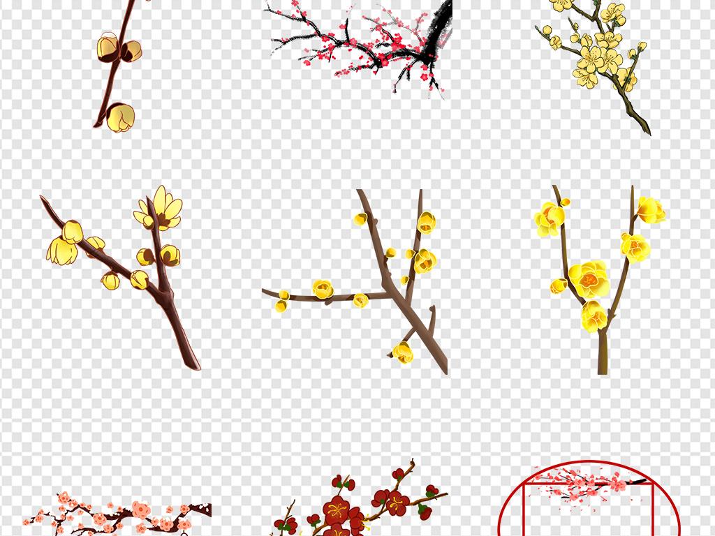 手绘唯美新年梅花灯笼古典中国风png素材