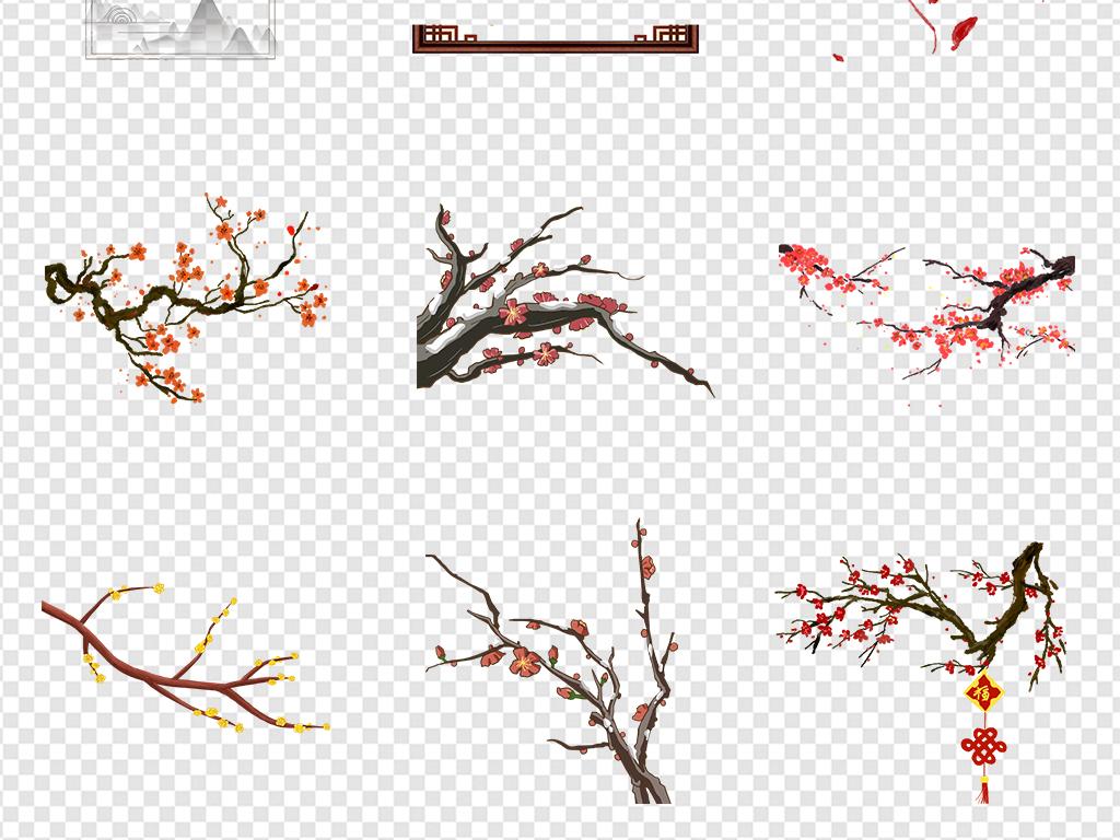 免抠元素 自然素材 花卉 > 手绘唯美新年梅花灯笼古典中国风png素材