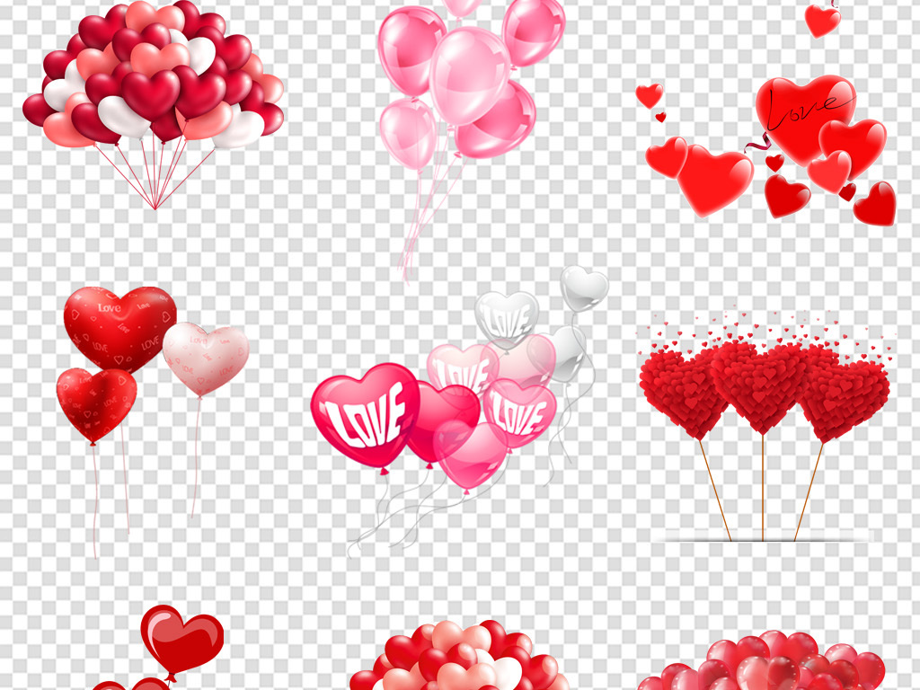 卡通漂亮红色心形气球海报免扣png