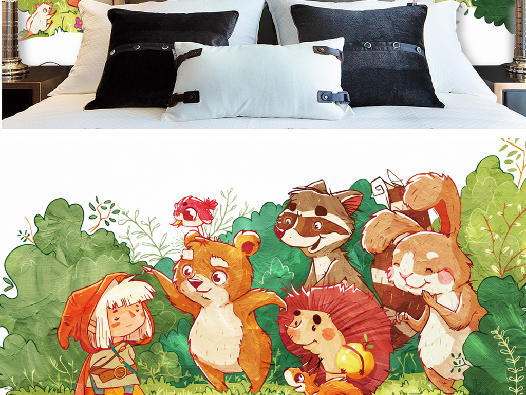 手绘动物园童趣水彩图片设计素材_高清模板下载(21.23