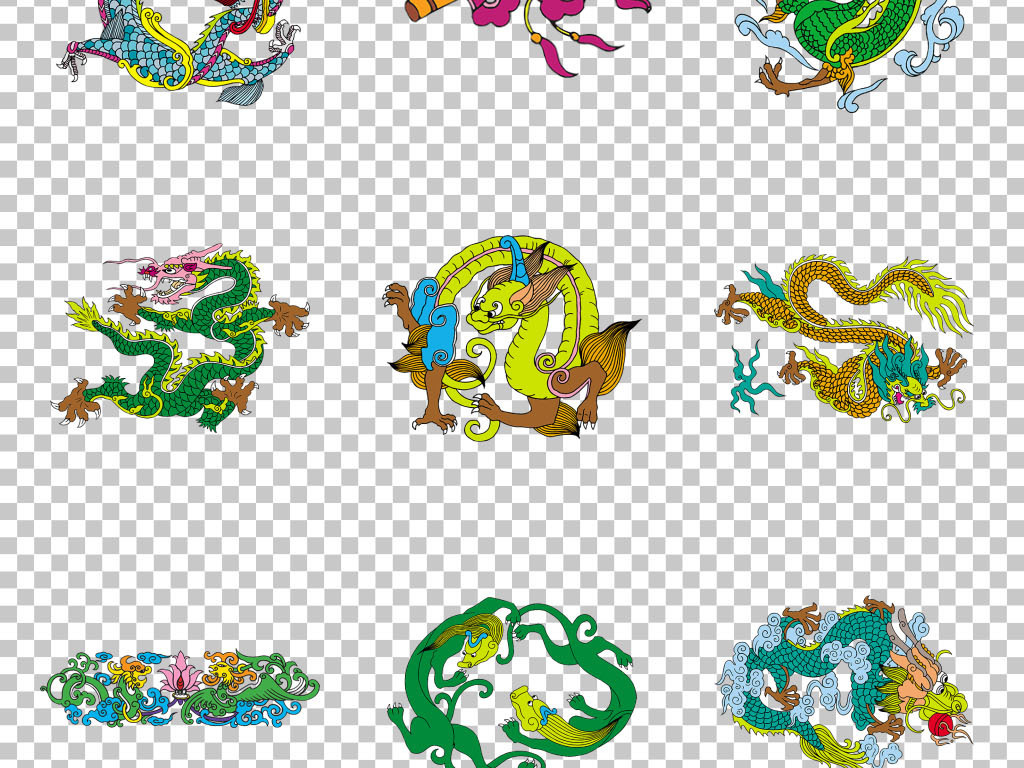 中国风传统喜庆吉祥动物纹样图案png素材