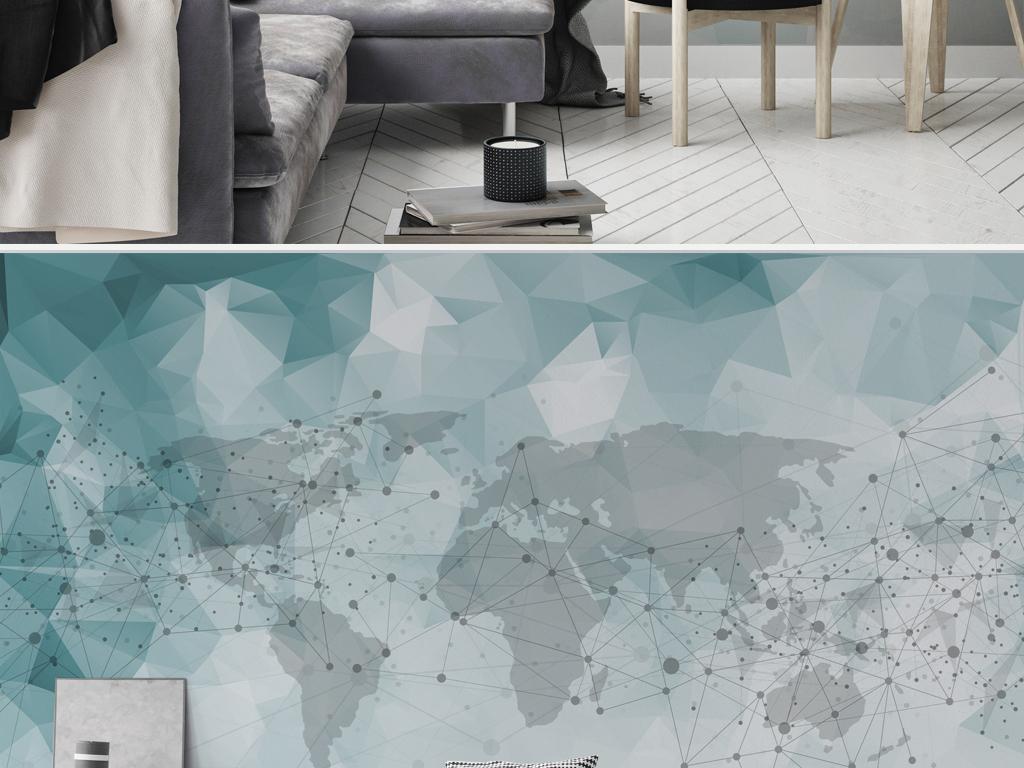 现代简约抽象几何线条沙发背景墙壁画图片设计素材_(.图片