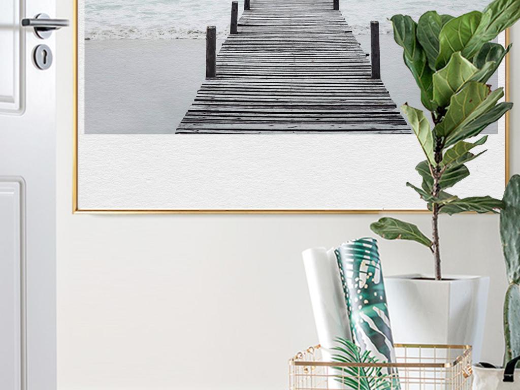 北欧简约唯美风景蓝天大海木桥现代艺术装饰画