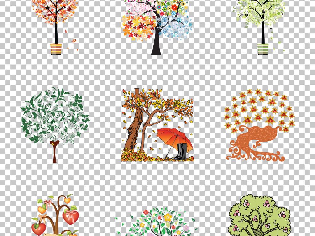 免抠元素 自然素材 其他 > 高清创意手绘卡通大树抽象树免抠png素材