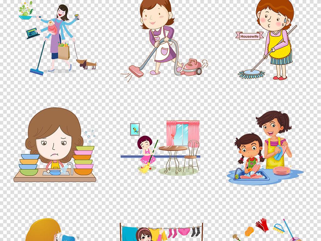 手抄报劳动节擦桌子卡通小孩子打扫卫生素材免抠素材卡通素材家务打扫图片