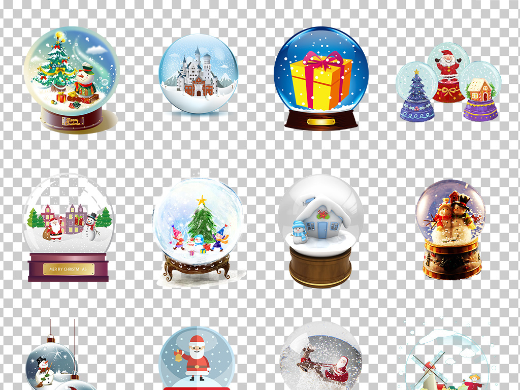 01520水晶球圣诞雪花水晶球手绘可爱梦幻水晶球素材免
