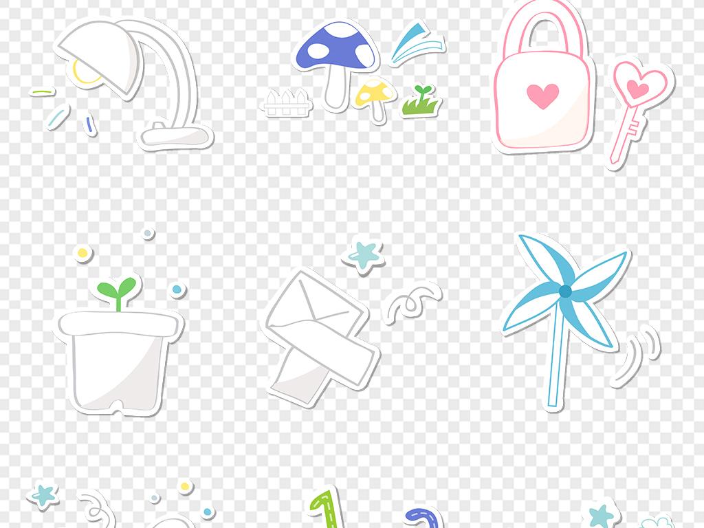 儿童学习用品手绘涂鸦贴纸可爱宝宝小学校学生幼儿园学习素材