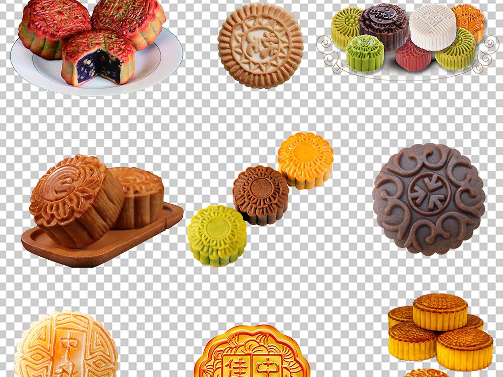 手绘中秋节月饼糕点海报素材背景图片png