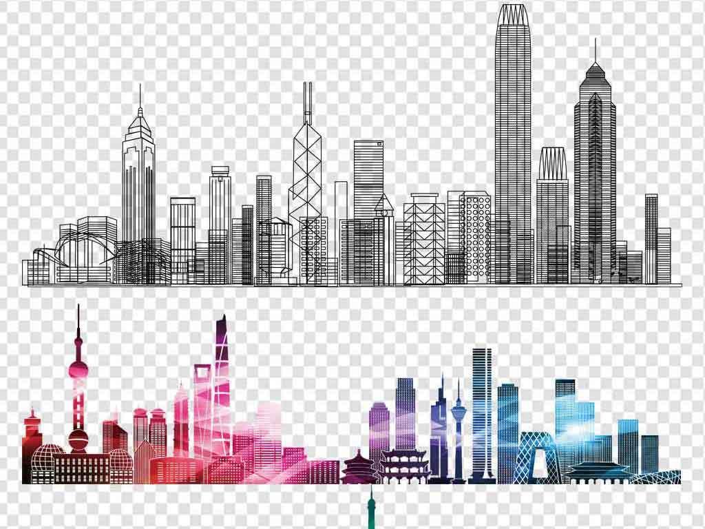 手绘城市双层都市建筑