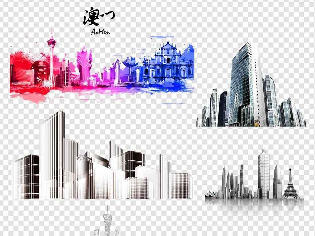 城市剪影卡通城市线描不规则楼房建筑png