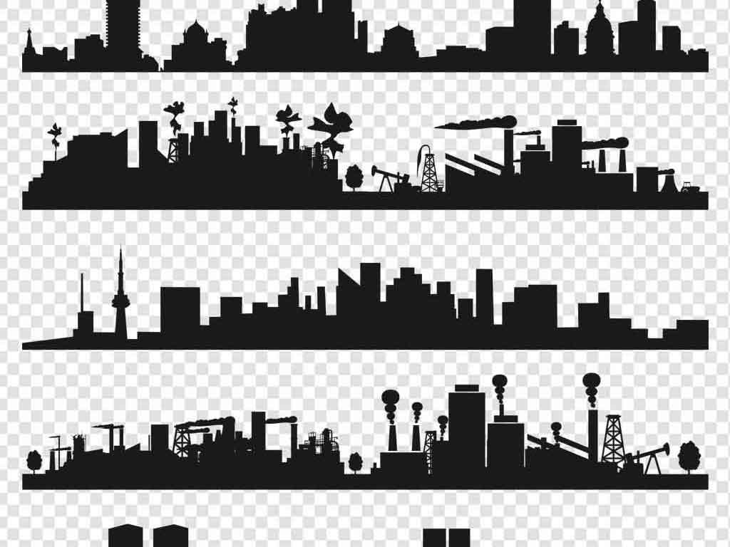 手绘城市双层都市建筑现代