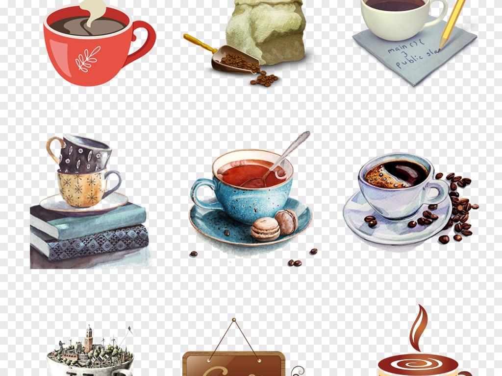 咖啡杯卡通咖啡杯具饮品手绘下午茶星巴克背景