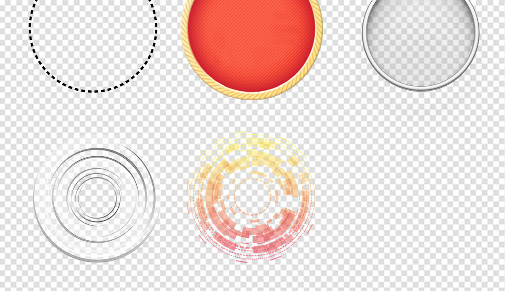 创意彩色圆圈时尚科技圆环圆点png素材