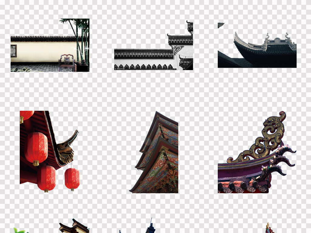 中国古风古建筑屋檐一角古代建筑屋角屋顶png素材