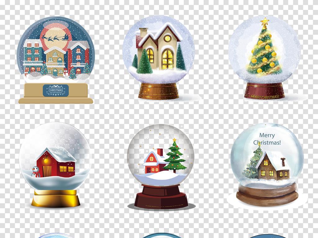 圣诞老人礼物水晶球雪花圣诞树水彩手绘