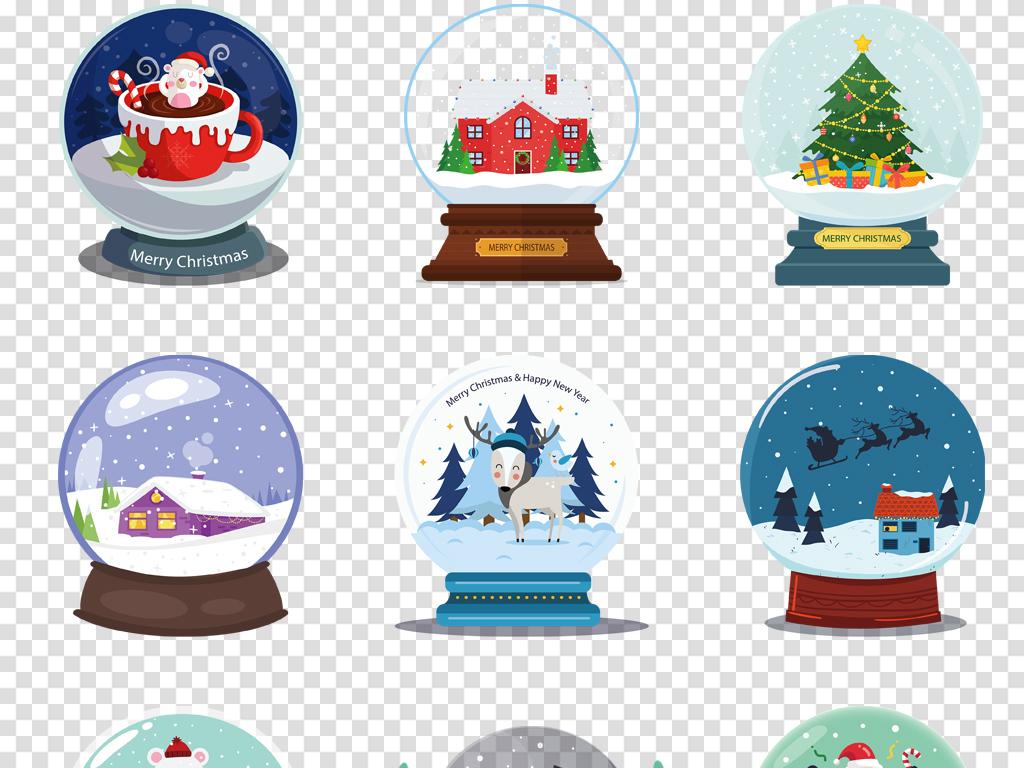 彩色创意水晶球卡通手绘圣诞插画png免扣素材