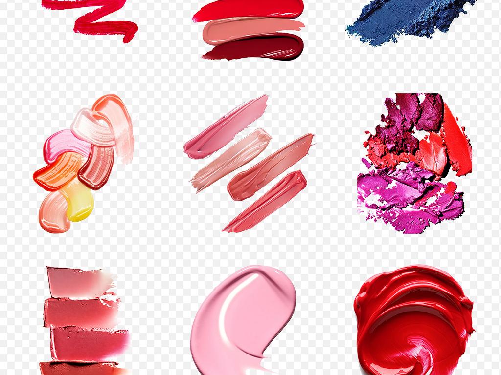 彩妆口红痕迹膏体笔刷化妆品海报素材背景图片png图片